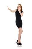 Woman pressing virtual button Royalty Free Stock Photos