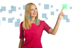 Woman pressing virtual buttons Royalty Free Stock Photos