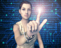 Woman pressing virtual computer screen with finger.  Royalty Free Stock Image