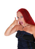 Woman pretending  being on the phone. Royalty Free Stock Photography