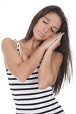 Woman pretending to be asleep Stock Photography
