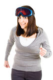 Woman pretending to be skier Stock Images