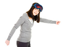 Woman pretending to be skier Royalty Free Stock Images