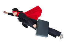 Woman pretending to be a super hero. On white background royalty free stock photos
