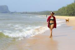 Woman pretty and bikini relax daylight on beach. At Bang Beot beach, Chumphon Province Thailand Stock Image