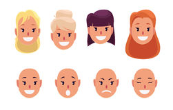 Woman, pretty faces with different hairstyles and emotions. Avatar. Royalty Free Stock Photos