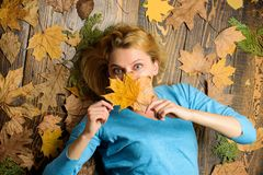 Woman pretty lady enjoy cozy season hold autumn dry leaves. Girl blonde lay on wooden background with orange leaves top. View. Fall and autumn season concept royalty free stock photo