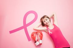 Woman with prevention breast cancer royalty free stock photos
