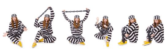 The woman prisoner isolated on white Stock Photography