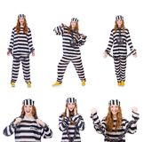 The woman prisoner isolated on white Royalty Free Stock Photos