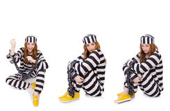 The woman prisoner isolated on white Stock Image