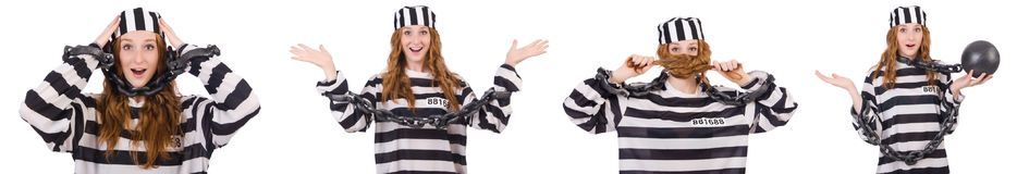 The woman prisoner isolated on white Royalty Free Stock Image