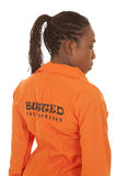 Woman prisoner orange back busted Stock Photos