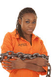 Woman prisoner orange chained up Stock Photography
