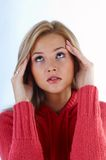 Woman with problem Stock Images
