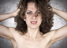 Woman problem. Frustrated woman and emotional stress Royalty Free Stock Images