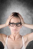 Woman problem. Frustrated woman and emotional stress Stock Image