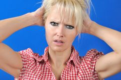Woman with a problem Royalty Free Stock Photo