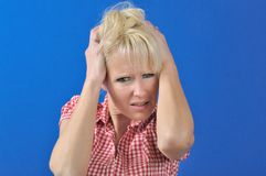 Woman with a problem Stock Photo