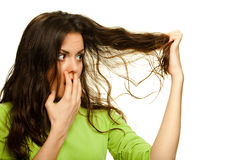 Woman with problematic hair Royalty Free Stock Images
