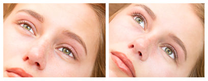 Woman on the procedure for eyelash extensions,. Eyelashes lamination royalty free stock images