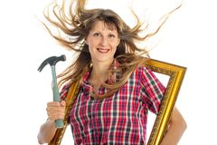 Woman in the process of renovating Stock Photography