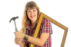 Woman in the process of renovating stock photos