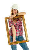 Woman in the process of renovating Stock Photo