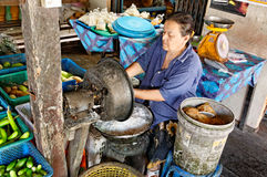 Woman processing coconuts Stock Photos