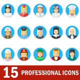 Woman professional icons face Royalty Free Stock Photo