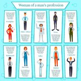Woman Professions Infographics. With female characters bodyguard, police officer, builder, conductor, cosmonaut on blue background vector illustration Stock Photo