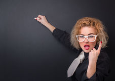 Woman professor. Clever professor woman is ready for writing, space for your text stock photography