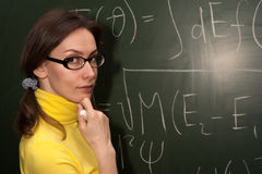 Woman professor student chalk board Stock Image