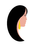 Woman profile with long black hair Royalty Free Stock Image