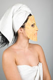 Woman profile with mask Stock Photo