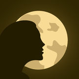 Woman profile and moon. On background Stock Image