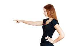 Woman in profile pointing Stock Photos