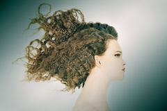 Woman profile portrait with curly hair Royalty Free Stock Photo