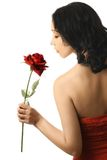 Woman profile with red rose Stock Photo