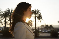 Woman Profile with Sun Royalty Free Stock Photos