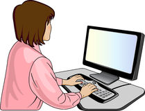 Woman-programmer near computer Royalty Free Stock Images