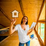 Woman projecting cottage Stock Photos