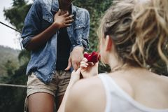 Woman proposing to her happy girlfriend outdoors love and marriage concept Stock Photo