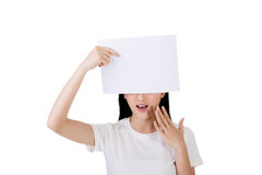 Woman protect or hide her face Stock Photo