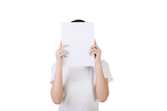 Woman protect or hide her face Stock Image