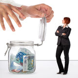 Woman protecting her savings Stock Images