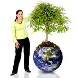 Woman protecting the planet Royalty Free Stock Image