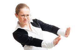 Woman protecting from threat Royalty Free Stock Image
