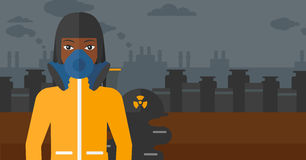 Woman in protective chemical suit. Royalty Free Stock Image