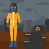 Woman in protective chemical suit. Royalty Free Stock Photos